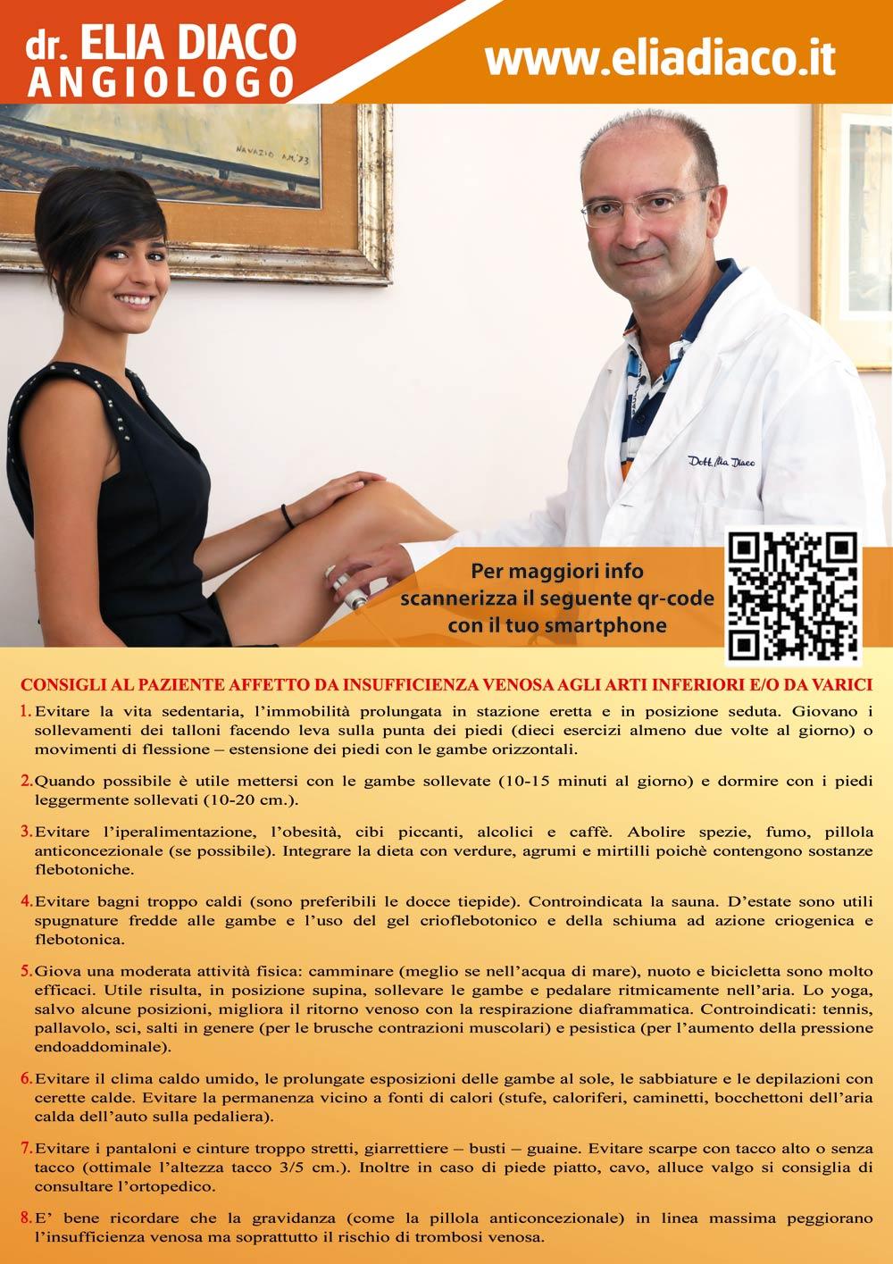 8 consigli del dott. Diaco contro l'insufficienza venosa degli arti inferiori