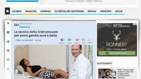 Il Quotidiano del Sud – La Tecnica della Scleromousse per avere gambe sane e belle – 11 ott. 2017